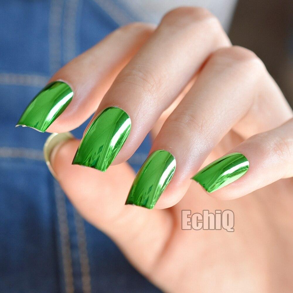 Square Metallic False Nails Green Shiny Acrylic Nail Art Tips Long ...