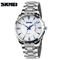 SKMEI New Fashion Men Stainless Steel Quartz Watches Men's Wristwatches Gold Analog Date Waterproof Male Clock relogio masculino