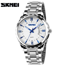 SKMEI New Fashion Men Stainless Steel Quartz Watches Mens Wristwatches Gold Analog Date Waterproof Male Clock relogio masculino