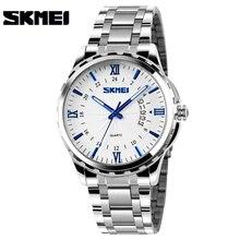 SKMEI relojes de cuarzo de acero inoxidable para hombre, reloj masculino de pulsera, analógico, dorado, resistente al agua