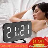 Nice Home Multifunction LED Mirror Alarm Art Digital Wall Clock Port Modern Mirrored Electronic Snooze Analog Table Clock Gift