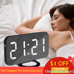 Nice Home Multifunction LED Mirror Alarm Art Digital Wall Clock Port Modern Mirrored Electronic Snooze Analog Table Clock Gift