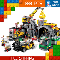 838pcs New City The Mine Drill Truck Crane 02071 Figure Building Blocks Assemble Toys Holiday Hobby Compatible With LegoING