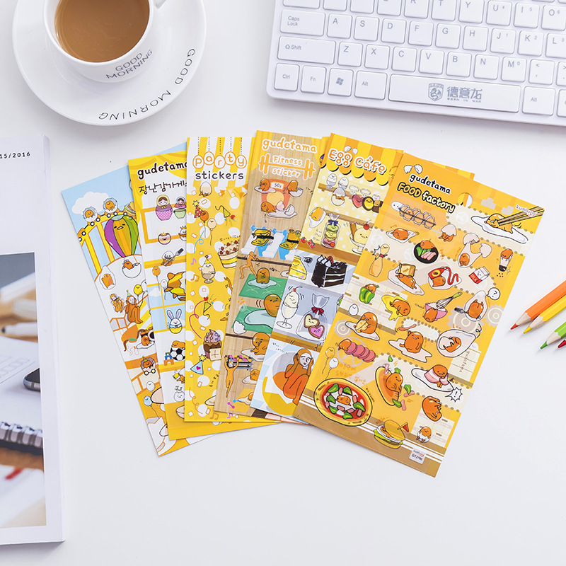 1 Sheet Kawaii Gudetama Lazy Egg DIY Clear Stickers Decorative Scrapbooking Diary Album Stick Label Decor Craft шкаф tiffany