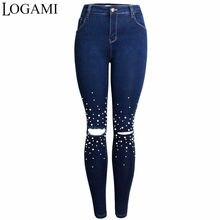 2a5b70b3b32 LOGAMI rebordear rodilla agujero Jeans mujeres Sexy lápiz Denim Pantalones  Slim Mujer Skinny Jeans moda nueva