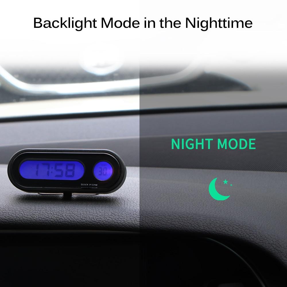 Auto Uhr 2 in 1 LED Thermometer Leucht Outlet Digitale Transparente Auto Uhr NEU