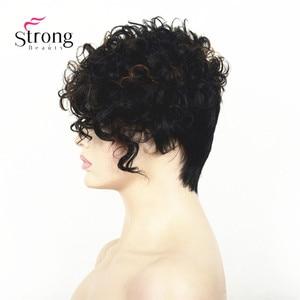 Image 4 - Corto Nero Evidenziati Ricci top Parrucca Piena Sintetica Auburn mix Delle Donne della signora parrucche