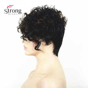 Image 4 - Short Black Highlighted Curly top Full Synthetic Wig Auburn mix Women lady wigs