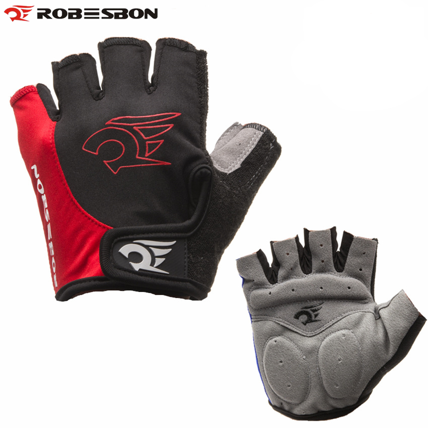 ROBESBON Wholesale Portable Red Cycling Gloves Bicycle Motorcycle Sport Gel Half Finger Gloves M- XL Size