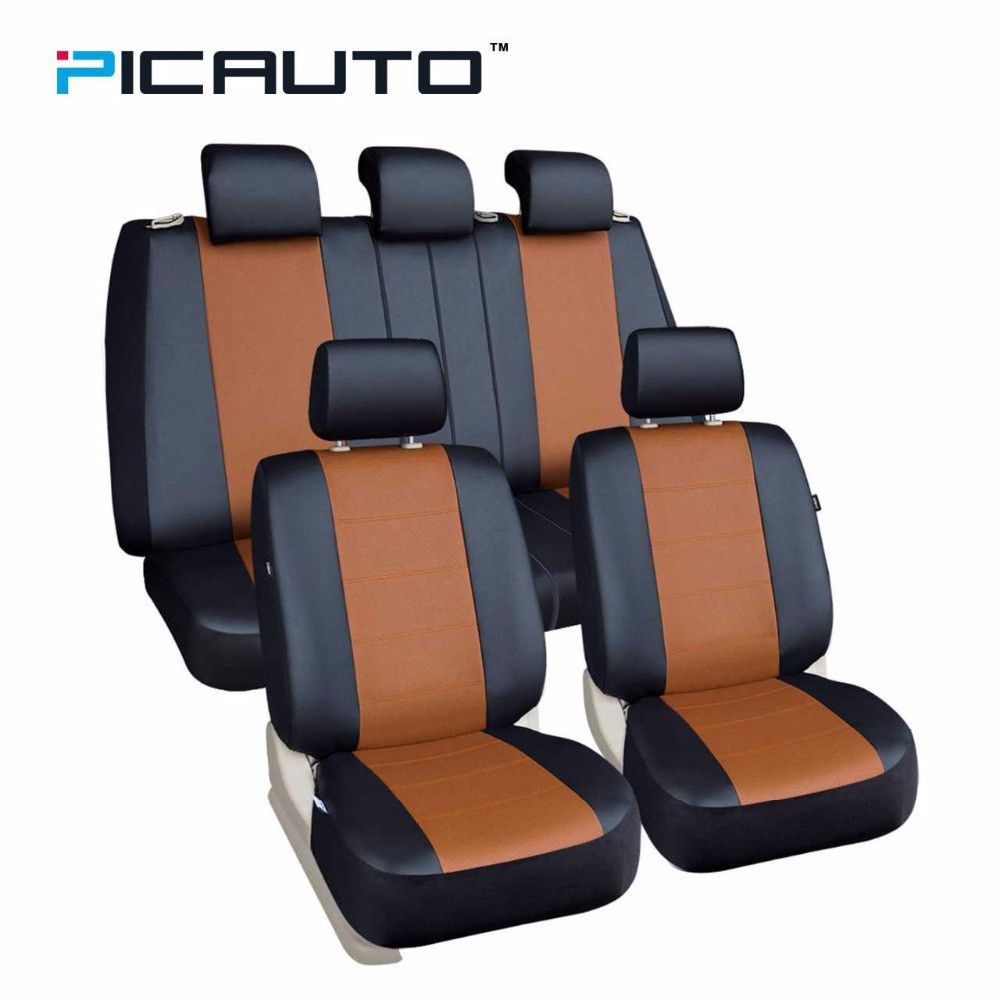 PIC AUTO Universal Seat Covers 5 Full Set Fit Automobiles Cars PU Leather Side Airbag Car
