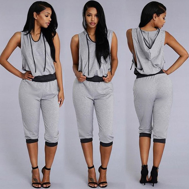 Summer Sportwear Tracksuit Outfits Suits for Women Clothing Two Piece Set Cotton Blends Gray Womens Track Suit with Hood