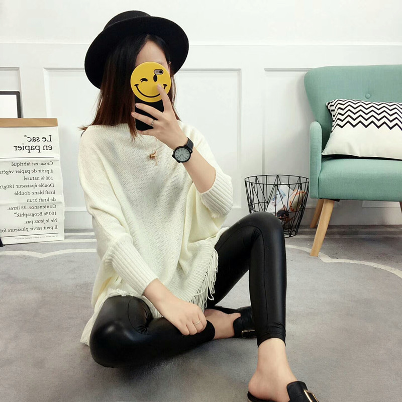 New Autumn Gray Pullovers And Sweaters Loose Tassel Soft Shawl Poncho Women Slash Neck Bat Long Sleeve Pullover Sweater Shawl 3