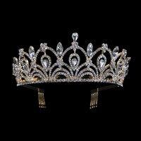 Wysoka Jakość Kropla Wody Cystal Srebrny i Złoty Kolor Korona Diadem dla Kobiet Prezenty Ślubne Suknia Ślubna Biżuteria Włosów Korony RS-GHB001