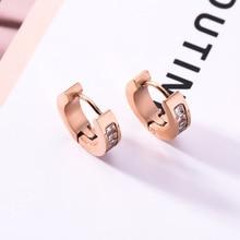 Rose Gold Color Stainless Steel CZ 14mm Small Hoop Earrings for Women Trendy Cubic Zircon Aros De Moda 2019 Wholesale Jewellery