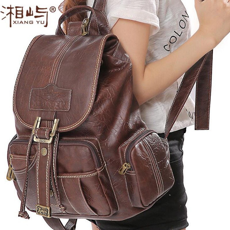 Women s Vintage Retro Waterproof Backpack Spring Leisure Classic Casual Multifunctional Travel Party PVC Leather Bag