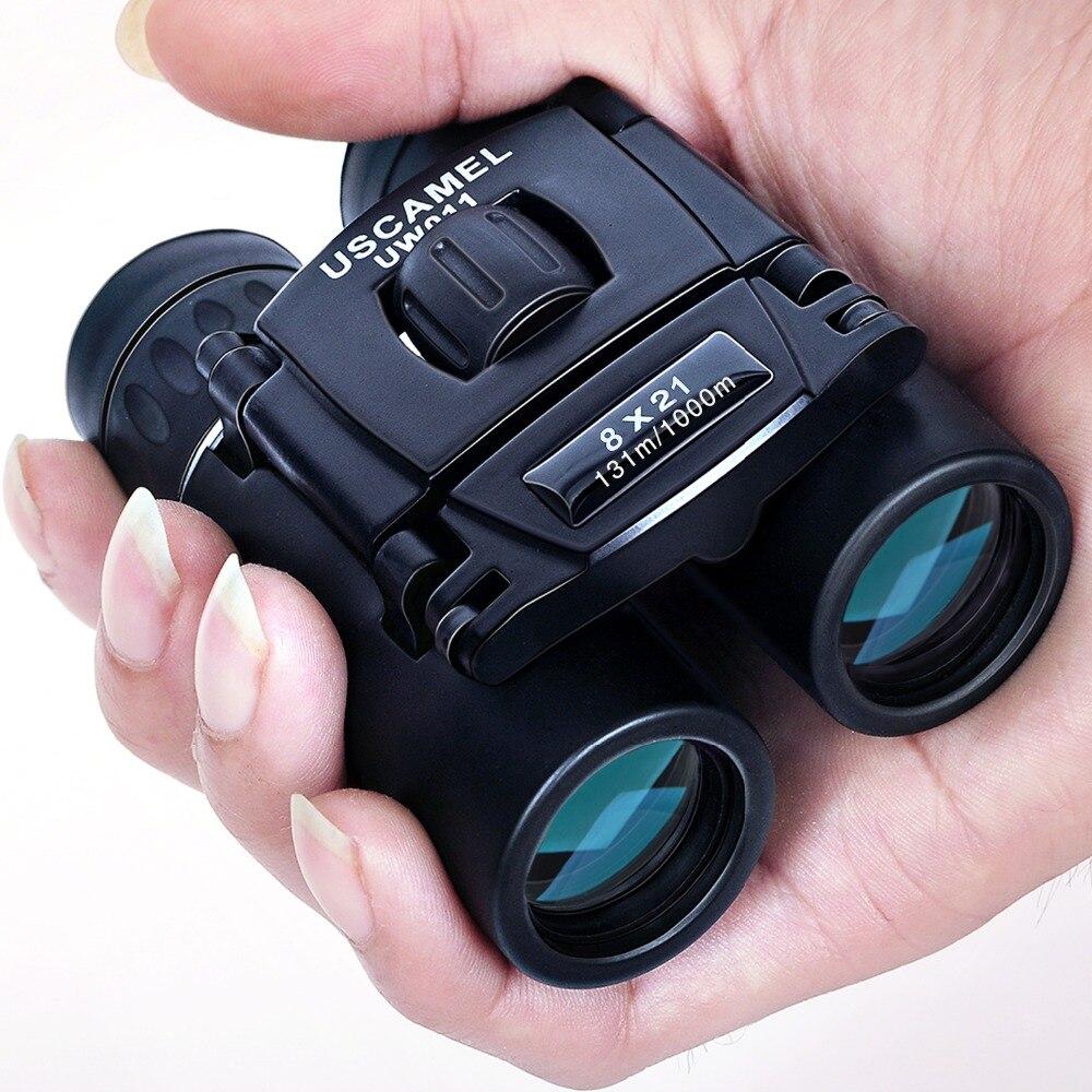 USCAMEL 8x21 Compact Zoom Binoculars Long Range 3000m Folding HD Powerful Mini Telescope Bak4 FMC Optics Hunting Sports Black