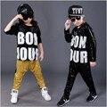 Free shipping child Male Female Sequined Hip Hop hip-hop DS Jazz Dance Costumes clothes Paillette T shirt  Leotard Harem Pants