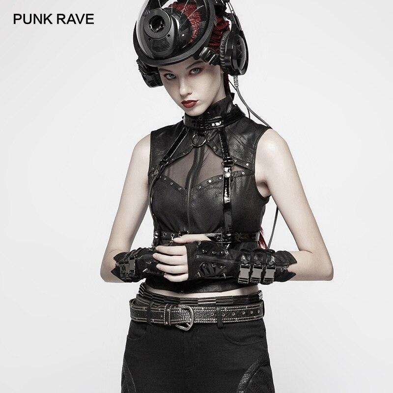 Черные кожаные перчатки без пальцев в стиле панк, готический стиль, женские длинные перчатки для езды на мотоцикле, аксессуары - 5