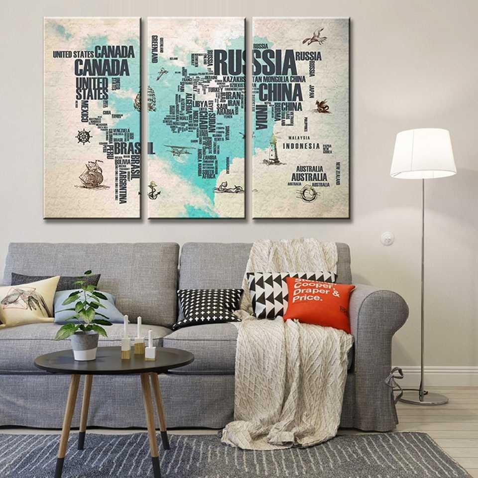 Kanvas Lukisan Karya Seni Dekorasi Rumah 3 Pieces Modern Kanvas Dicetak Biru Peta Dunia Poster Wall Art Landscape Gambar Kerangka