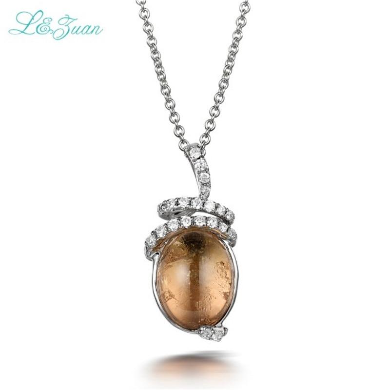 купить l&zuan S925 Silver Tourmaline Woman Pendants Classic Brown Round Gemstones Fine Jewelry Sweater Necklaces по цене 4889.7 рублей