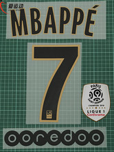 2018-19 PSG away MBAPPE #7 name number SET + Ligue 1 champion PATCH + OOREDOO Paris away MBAPPE #7 nameset(China)