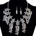 Idealway Vintage Gold Silver Alloy Necklaces Leaf Tassel Fashion Choker Statement Necklace Earrings For Women Jewelry Set