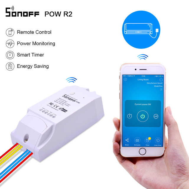 Itead Sonoff Pow R2 16A Wifi commutateur intelligent avec une plus grande précision moniteur consommation dénergie la mesure de puissance à domicile intelligente fonctionne avec Alexa
