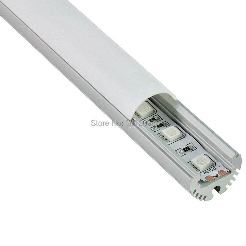 Conjuntos de 100X2 M/lote de extrusiones de canal led de aluminio de tipo redondo y tira de aluminio con forma de medio círculo perfil para lámpara de pared