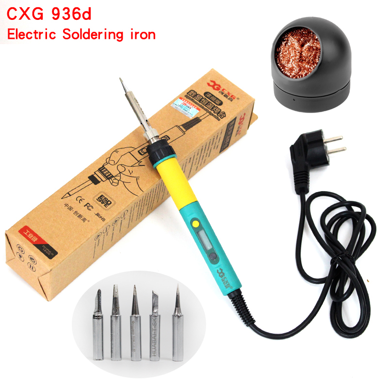 EU Plug CXG 936d+ Digital LCD With Backlight Adjustable Temperature Electric Soldering Iron 220V 100W With Solder Iron Tip 5pcs
