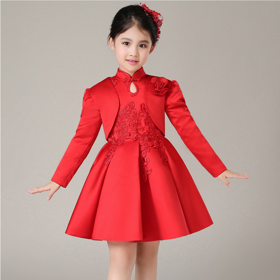 2016 Spring New Girls Cheongsam Princess Dress Flower Girl Birthday Costumes Embroidered Flower Tutu Dress or With wrap 2pcs new year spring 2016 new corduroy pleated dress dress red princess dress