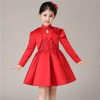 2016 Spring New Girls Cheongsam Princess Dress Flower Girl Birthday Costumes Embroidered Flower Tutu Dress or With wrap 2pcs