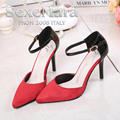 2016 Spring Fashion Pointed Stilettos Women Pumps High Heels Shoes Black Red Purple High-heeled Female Shoes XP35