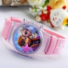 Мода 2016 года мультфильм смотреть цифровые милые Спортивные Наручные Часы Принцесса Эльза Анна детей часы Студент Дети criancas Relogio