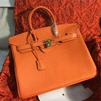 B0201 40CM classic large tote with lock lady messenger bags genuine leather handbags women shoulder bag for female bolsas