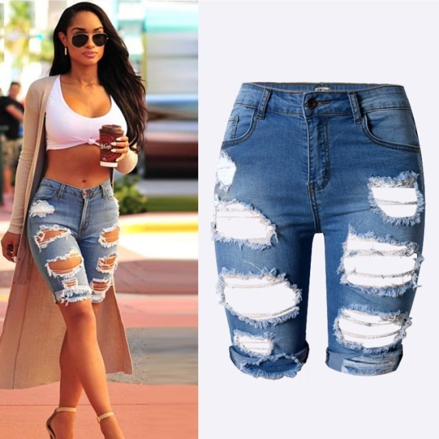 buy new knee length denim shorts women vintage short jeans ripped distressed. Black Bedroom Furniture Sets. Home Design Ideas