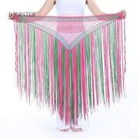 DJGRSTER 13 Colori Danza Del Ventre Accessori Elastico Lungo Nappa Cintura Triangolo Crochet della Mano Danza Del Ventre Hip Sciarpa