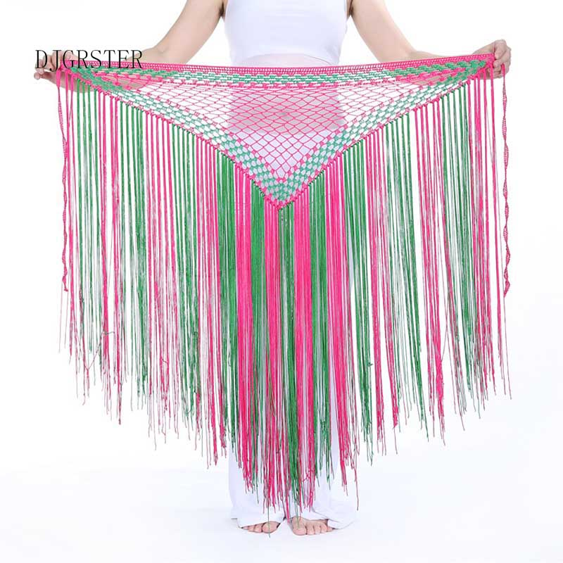 DJGRSTER 13Colors Belly Dance Clothes Accessories Stretchy Long Tassel Triangle Belt Hand Crochet Belly Dance Hip Scarf