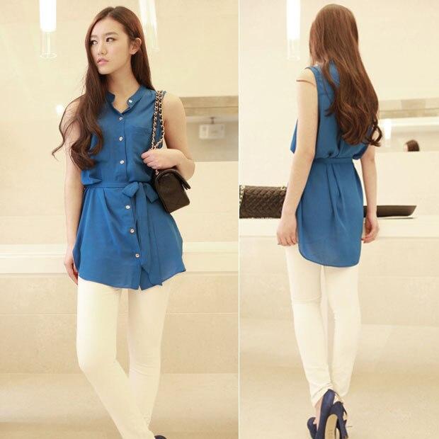 Fashion Women Blusas Sleeveless Button Down Pocket Summer Chiffon Blouse Long Casual Top Shirt With Belt Blue Free Shipping 0847