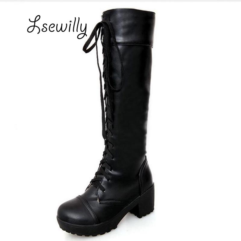 Fashion Big Size 34-43 Lace up Knee High Boots Knight Thick High Heels Boots for Women Winter Shoes Platform Winter Boots P938 big size 34 43 vintage thick high heels platform ankle boots female fashion shoes woman buckle charm lace up fall winter boots
