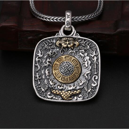 925 Silver Nine Direction Eight Symbols Amulet 925 Sterling Tibetan Direction Symbol Pendant Necklace Buddhist Sacred