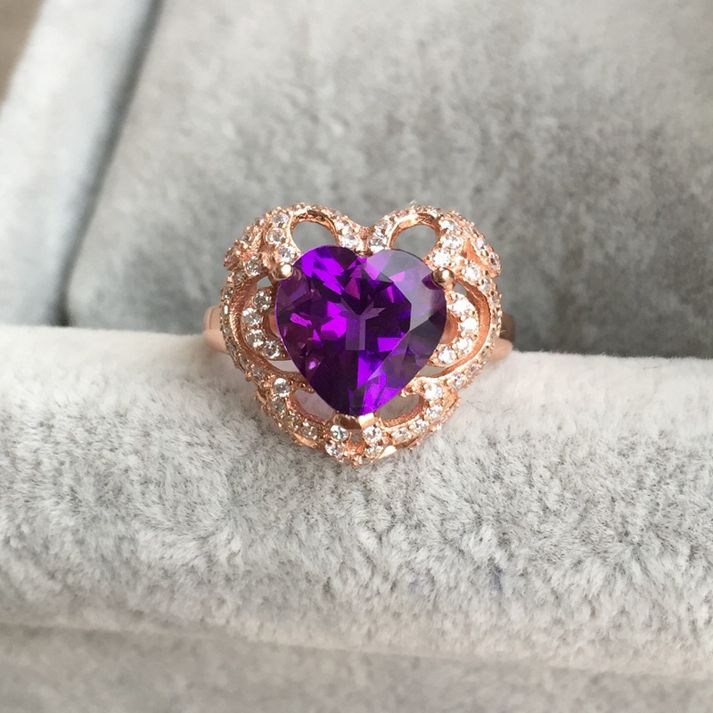 Ultra luxury large 10*10mm heart shape natural amethyst ring 925 silver 2 colors metal ring for women engagement fine jewelry