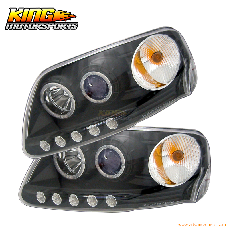 for 97 02 03 ford f150 led halo projector headlights black. Black Bedroom Furniture Sets. Home Design Ideas