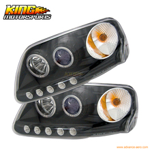 Для 97-02 03 Ford F150 Halo LED Проектор Фары Черный США Внутренний Бесплатная Доставка