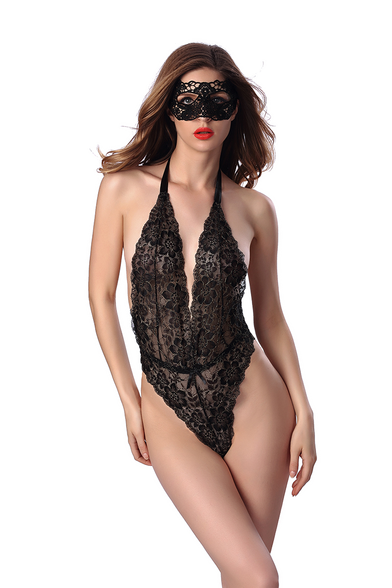 Hot Women Lace Bodysuit Sexy Black Green Red Halter Top Teddies Erotic Sets Ladies Backless Mesh Floral Chemise For Girls S-XXL