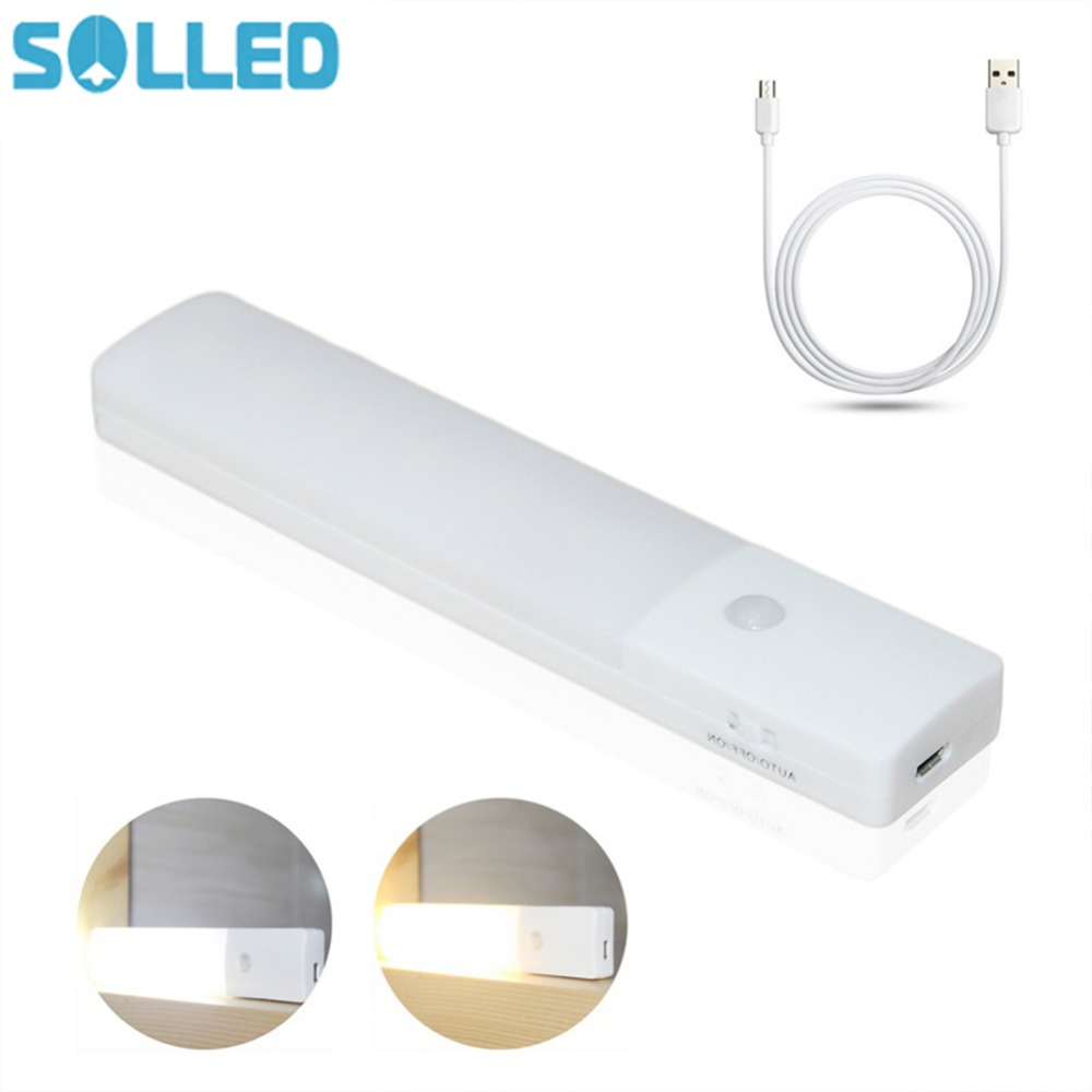SOLLED LED USB Chargeable Motion Sensor Night Light Human Body Induction Light Sensor Lamp for Wardrobe Corridor Basement цена