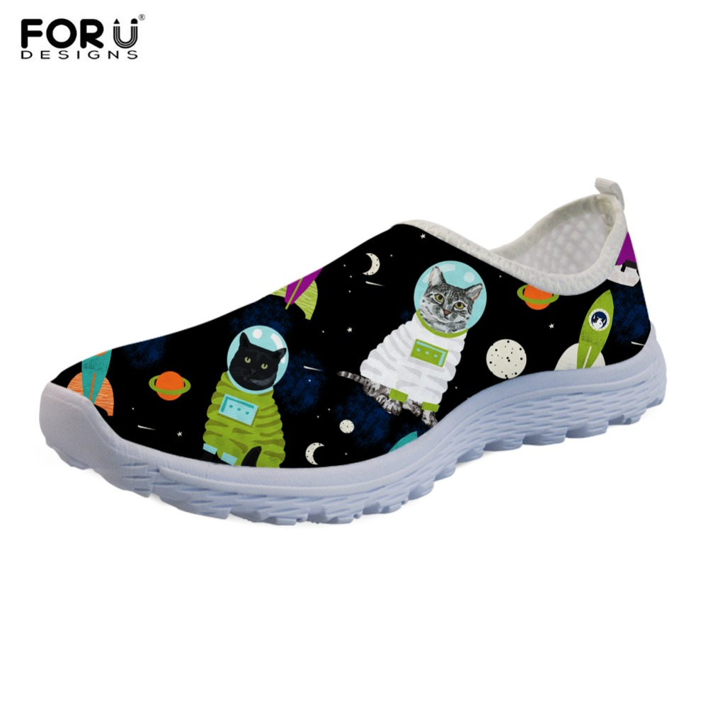 FORUDESIGNS Space Cat Cartoon Printing Women Flats Shoes Casual Slip On Mesh Student Walking Sneakers Light Flats Shoes Female