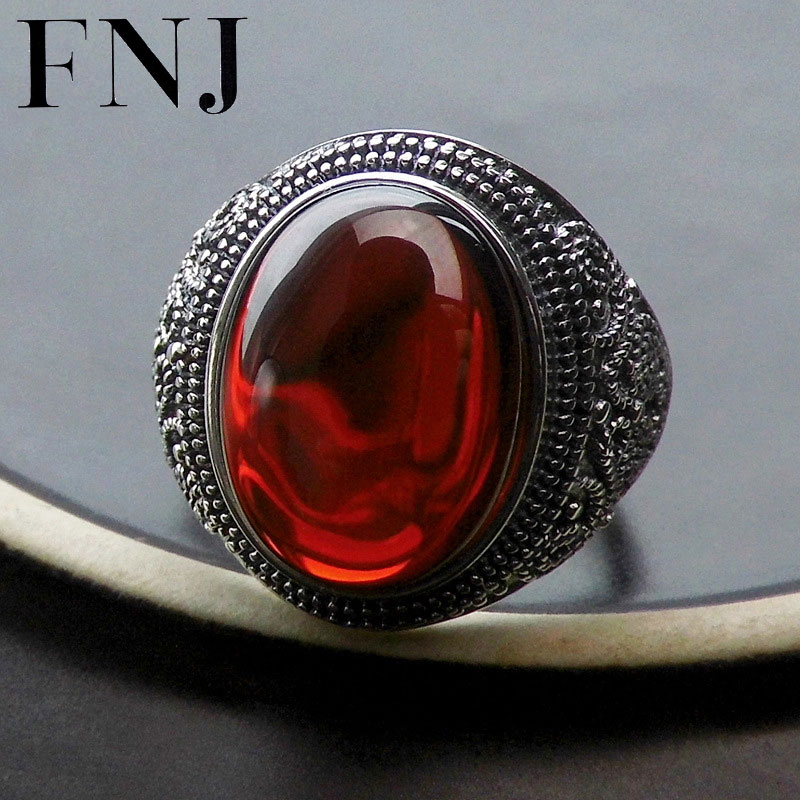 FNJ Punk S925 Thai Silver Round Garnet Ring Open Size 100% Pure 925 Sterling Silver Rings for Women Jewelry LR115 punk style pure color hollow out ring for women