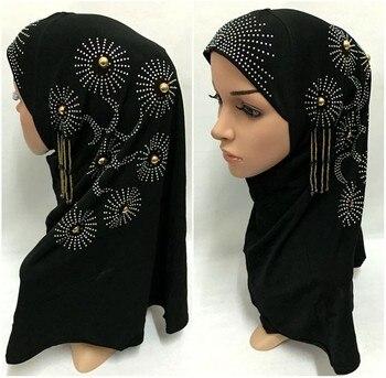 Fashion Women Lady Hot Drill Floral Muslim Hijab Islamic Scarf Arab Shawls Headwear Чокер