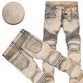 De alta calidad de los hombres del agujero vaqueros lavados de algodón Delgado Tamaño 36 38 40 42 44, de los hombres de vaqueros locomotora pantalones