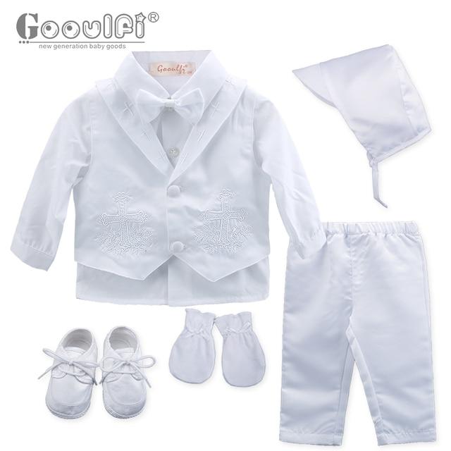 00b8bebfb63d3 Gooulfi Baptême Bébé Garçons Vêtements Point De Croix Blanc Arc Baptême  Baptême Costume Vêtements pour Bébé